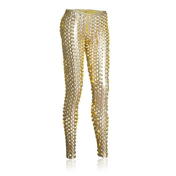 ItspleaZure Chad Punched Leggings Gold for  at itspleaZure
