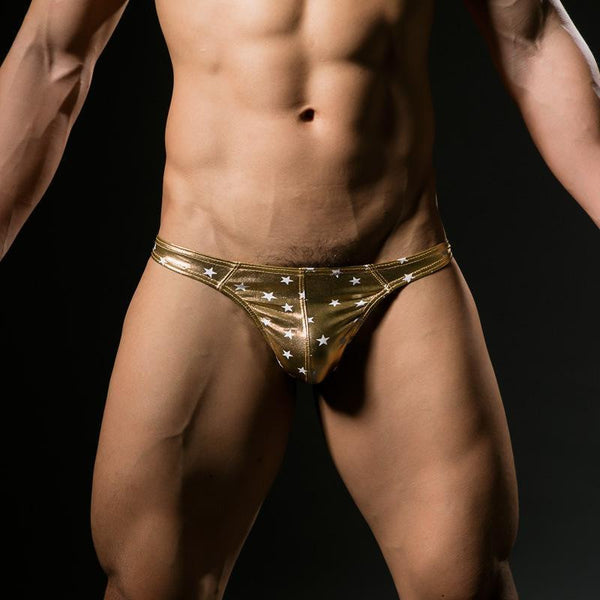 ItspleaZure Star Spangled Men's Thong Gold for  at itspleaZure