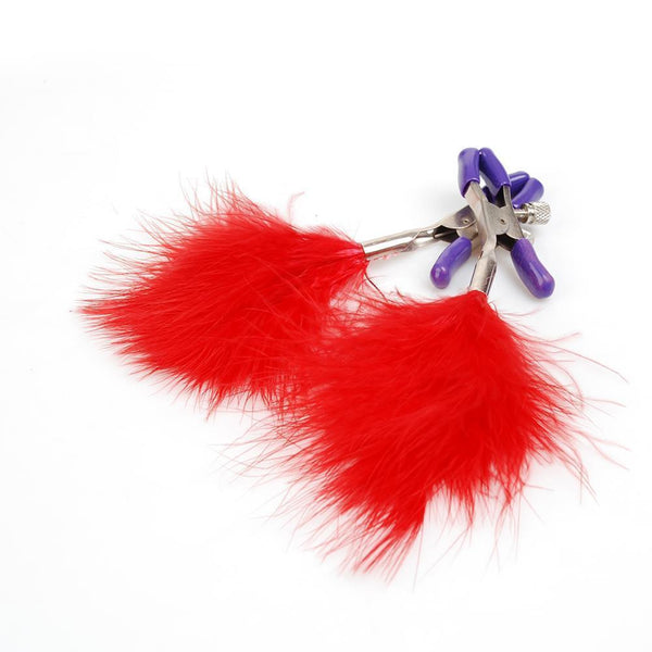 ItspleaZure Feather Tassel Nipple Clamps Red for  at itspleaZure