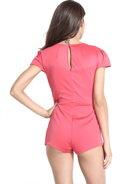 ItspleaZure Cap Sleeve Cut Front Skort Pink Playsuit for  at itspleaZure