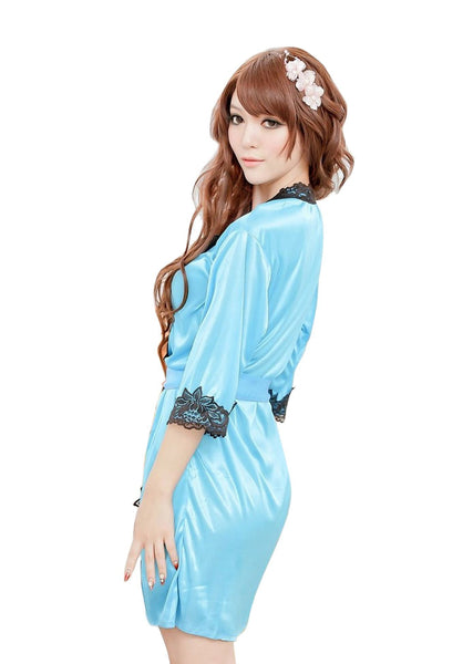 Buy ItspleaZure Satin Robe with Lace Edge for  at itspleaZure