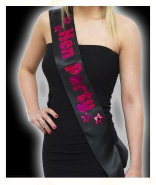 ItspleaZure Black Hen Party Sash with Hot Pink Foil for  at itspleaZure