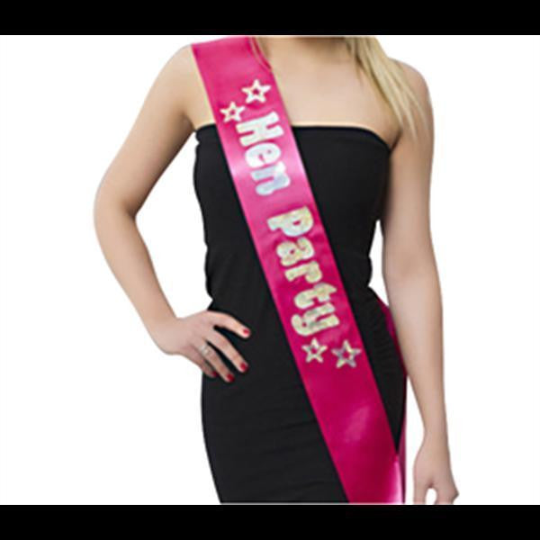 ItspleaZure Pink Hen Party Sash with Silver Foil for  at itspleaZure