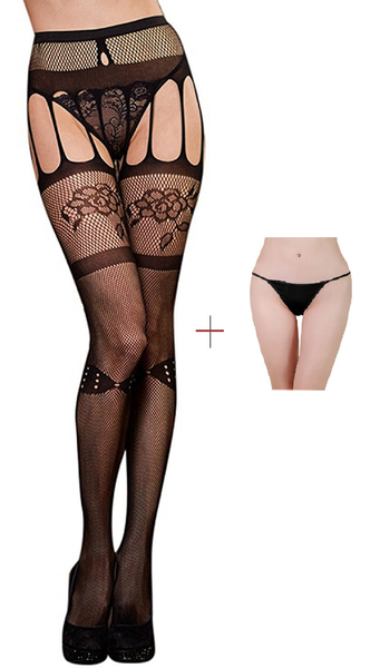 ItspleaZure Women's Black Fishnet Suspender Pantyhose Stockings & Free Thong 6051 for  at itspleaZure