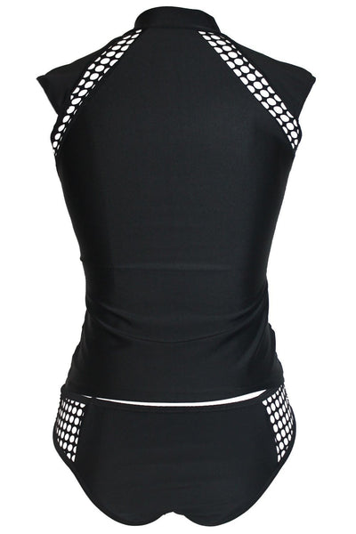 ItspleaZure Black Mesh Hollow Out Rashguard Tankini Swimsuit for  at itspleaZure