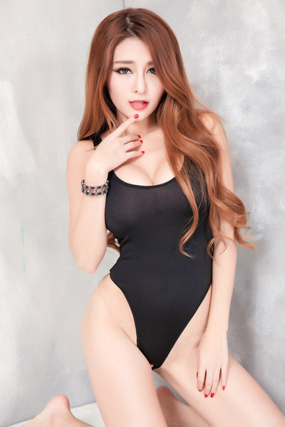 Buy ItspleaZure Crotchless Deep Cut Mesh Bodysuit - Black for  at itspleaZure