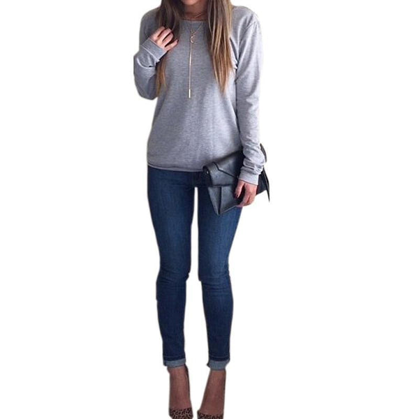 Grey cotton Open Back Long Sleeve Women Blouses for  at itspleaZure
