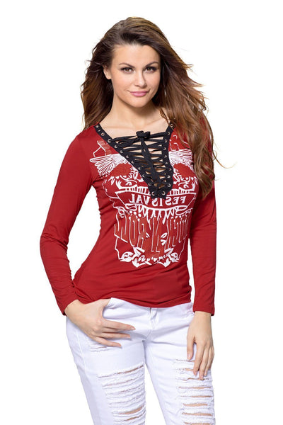 ItspleaZure Woman's Red Printed Lace Up V Neck Long Sleeve Shirt for  at itspleaZure