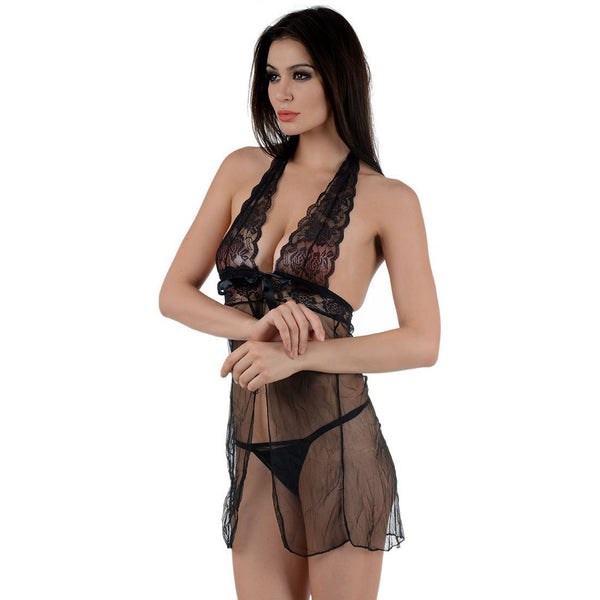Itspleazure Black Lace see Through Nightwear Baby Doll for  at itspleaZure