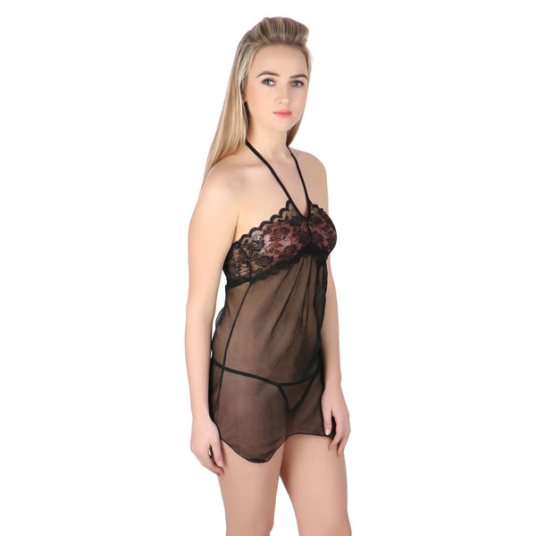 Itspleazure Black sexy see through Halter Bady Doll for  at itspleaZure