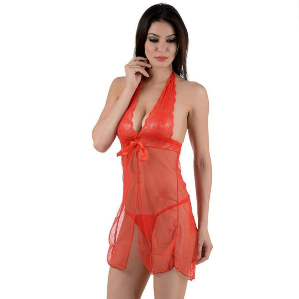 Itspleazure Red Lace see Through Nightwear Baby Doll for  at itspleaZure