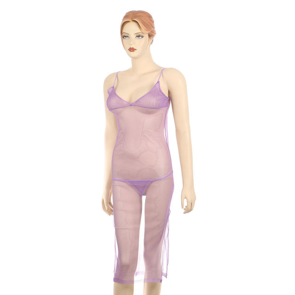 Itspleazure women sexy Long see through Purple Gown for  at itspleaZure