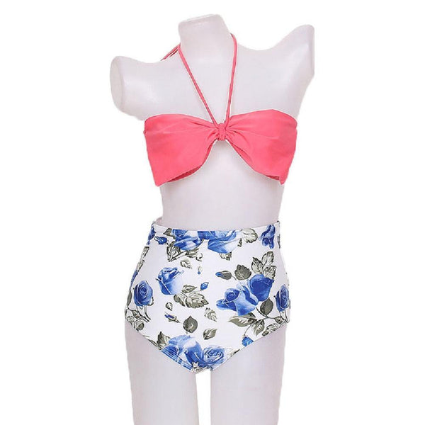 ItspleaZure Blue Rose Print High Waist Bikini for  at itspleaZure