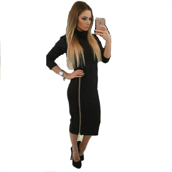 ItspleaZure Black Zip Up Sexy Long Bodycon Dress For women for  at itspleaZure