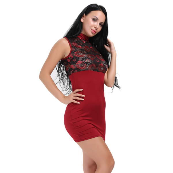 ItspleaZure Red Sleeveless sexy High Neck Bodycon party wear Dress for  at itspleaZure