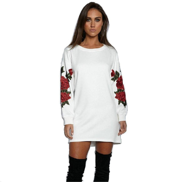 ItspleaZure Women Casual White Rose printed Long T-shirt for  at itspleaZure