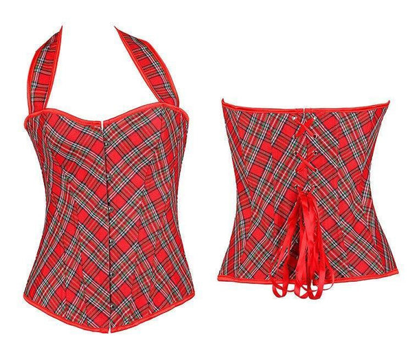 ItspleaZure Sexy Red Plaid Straps Halter Overbust Corset for women for  at itspleaZure