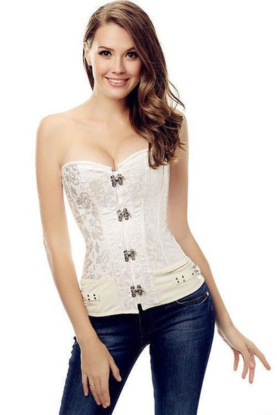 Buy ItspleaZure White Sexy Jacquard Overbust Corset For Women for  at itspleaZure