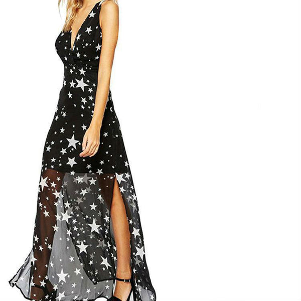 ItspleaZure Default Title ItspleaZure Black Star Printed Sexy V neck Maxi Party Dress for women