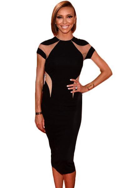 ItspleaZure Woman's Notable Mesh Detail Black Midi Dress for  at itspleaZure
