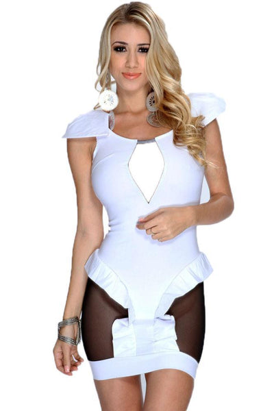 Buy ItspleaZure Woman's White Cutout Mesh Backless Club Dress for Rs. 799.00 at itspleaZure