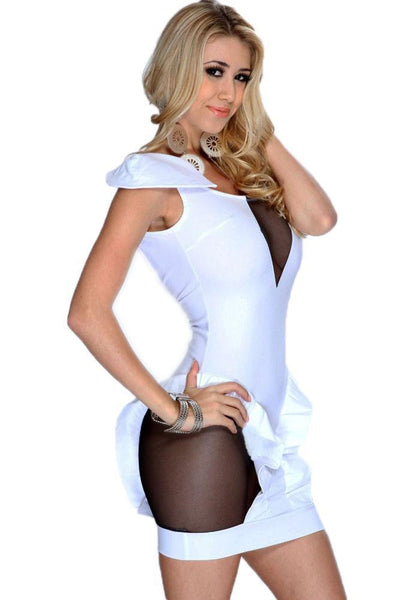 Buy ItspleaZure Woman's White Cutout Mesh Backless Club Dress for  at itspleaZure