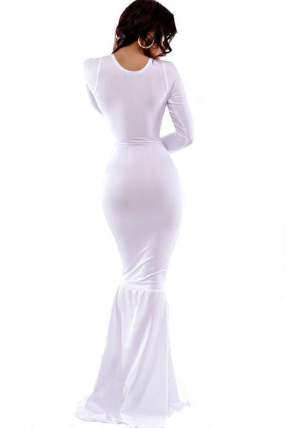 ItspleaZure Woman's White Mermaid Bodycon Evening Gown for  at itspleaZure