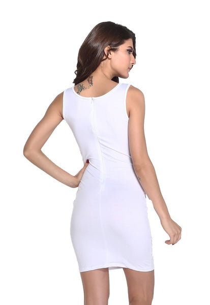Buy ItspleaZure Woman's White Mesh Cutouts Bodycon Dress for Rs. 999.00 at itspleaZure