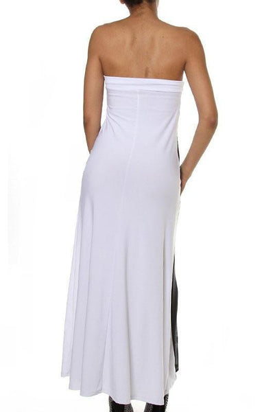 ItspleaZure Woman's White Strapless Mesh Insert Convertible Maxi Dress for  at itspleaZure