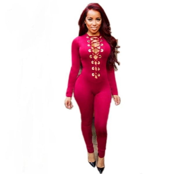 ItspleaZure Woman's Wine Deep V Neck Lace up Front Onesies for  at itspleaZure