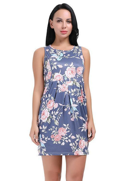 ItspleaZure Floral Printed sexy Round Neck Shift dress for women for  at itspleaZure