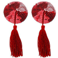 ItspleaZure Red Sweetheart Sequin Pasties With Tassel at itspleaZure