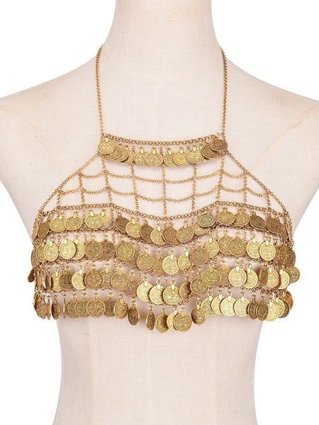 ItspleaZure Sexy Girls Retro Coins Tassel Body Bra Chain for  at itspleaZure