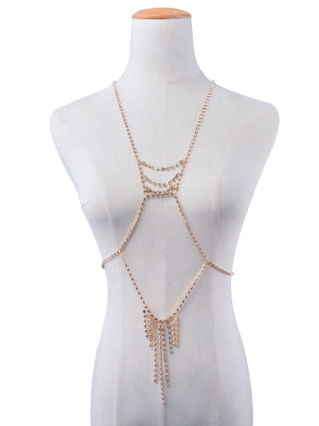 ItspleaZure Women's Fairy Floss gold diamond body chain -gold for  at itspleaZure