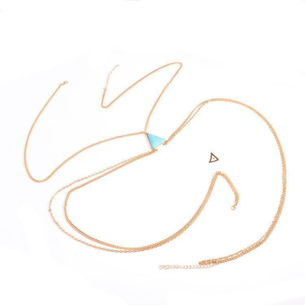 ItspleaZure Women's GOLD TURQUOISE WAIST BELLY NECKLACE BODY CHAIN for  at itspleaZure