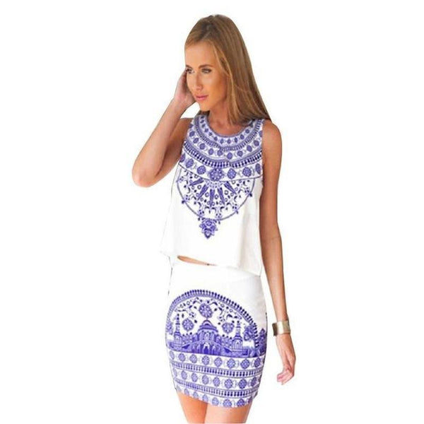 ItspleaZure Skirt Top ItspleaZure Blue and White Porcelain Summer Dress