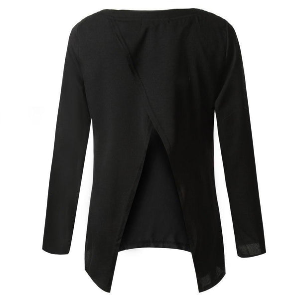 ItspleaZure Top ItspleaZure Black Open Back Middle Sleeve Summer Top