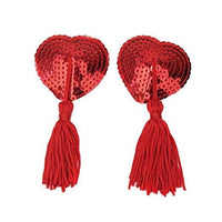 ItspleaZure Sweetheart Sequin Pasties With Tassel-Red