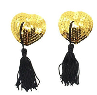 ItspleaZure Sweetheart Sequin Pasties With Tassel-Golden