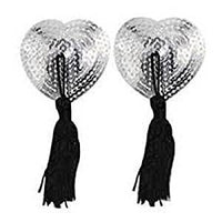 ItspleaZure Sweetheart Sequin Pasties With Tassel-Silver for  at itspleaZure
