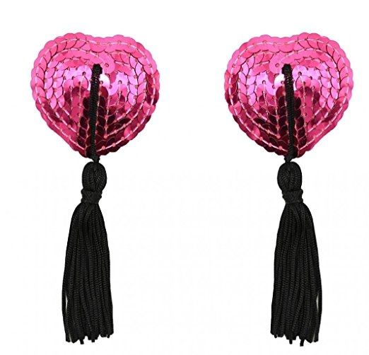 Buy ItspleaZure Sweetheart Sequin Pasties With Tassel-Pink - Black for  at itspleaZure