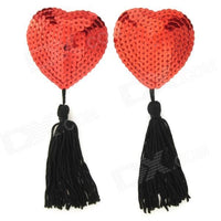 ItspleaZure Sweetheart Sequin Pasties With Tassel-Red - Black