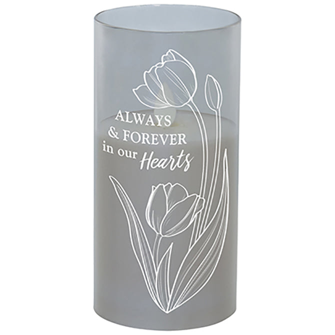 """In Our Hearts"" Metallic Glass Candle"