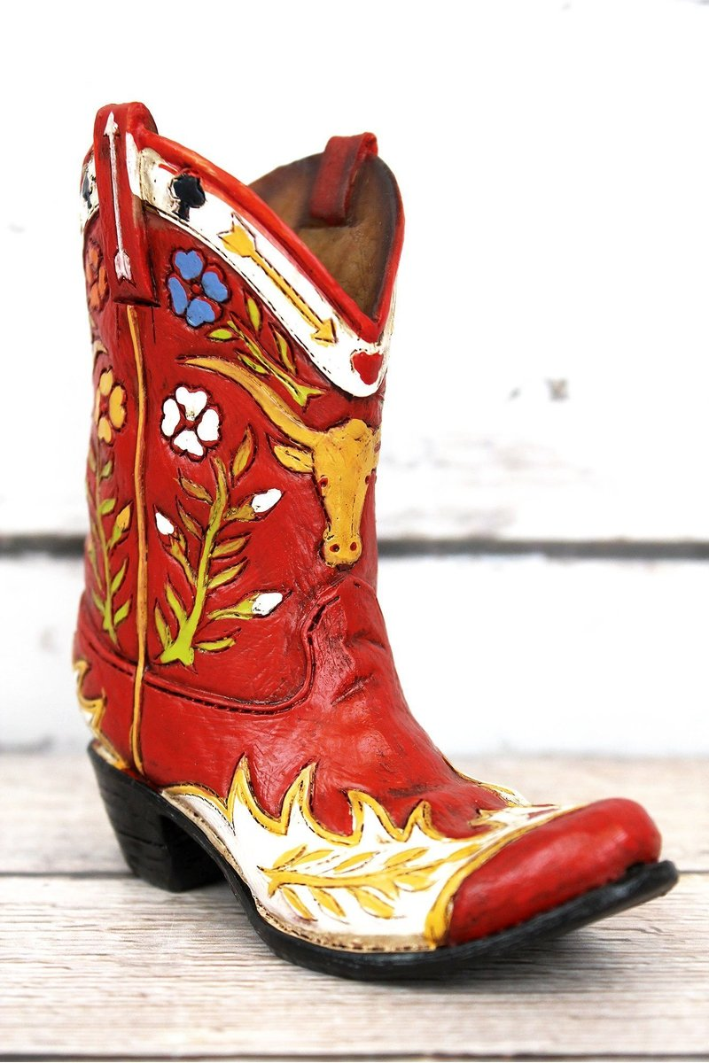 Red Floral Cowboy Boot Resin Decor