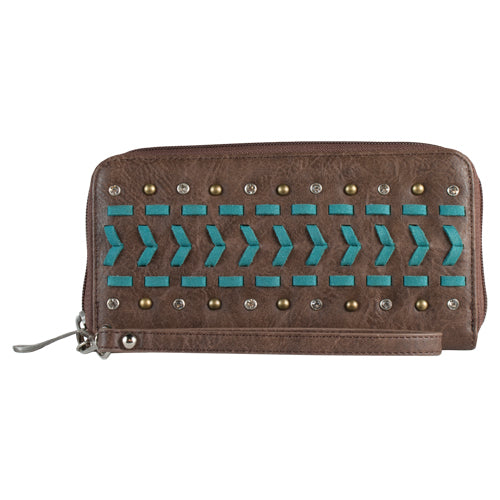 Women's Wallet Turquoise Stitch & Brown