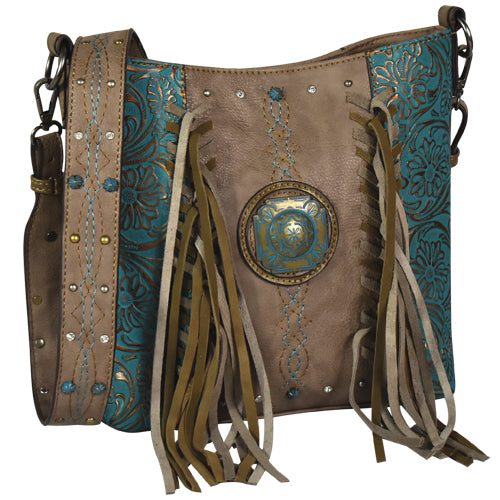 Justin Crossbody Ash Brown w/ Fringe & Turquoise