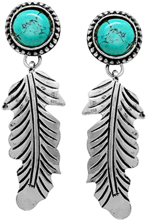 Turquoise Feather Earring