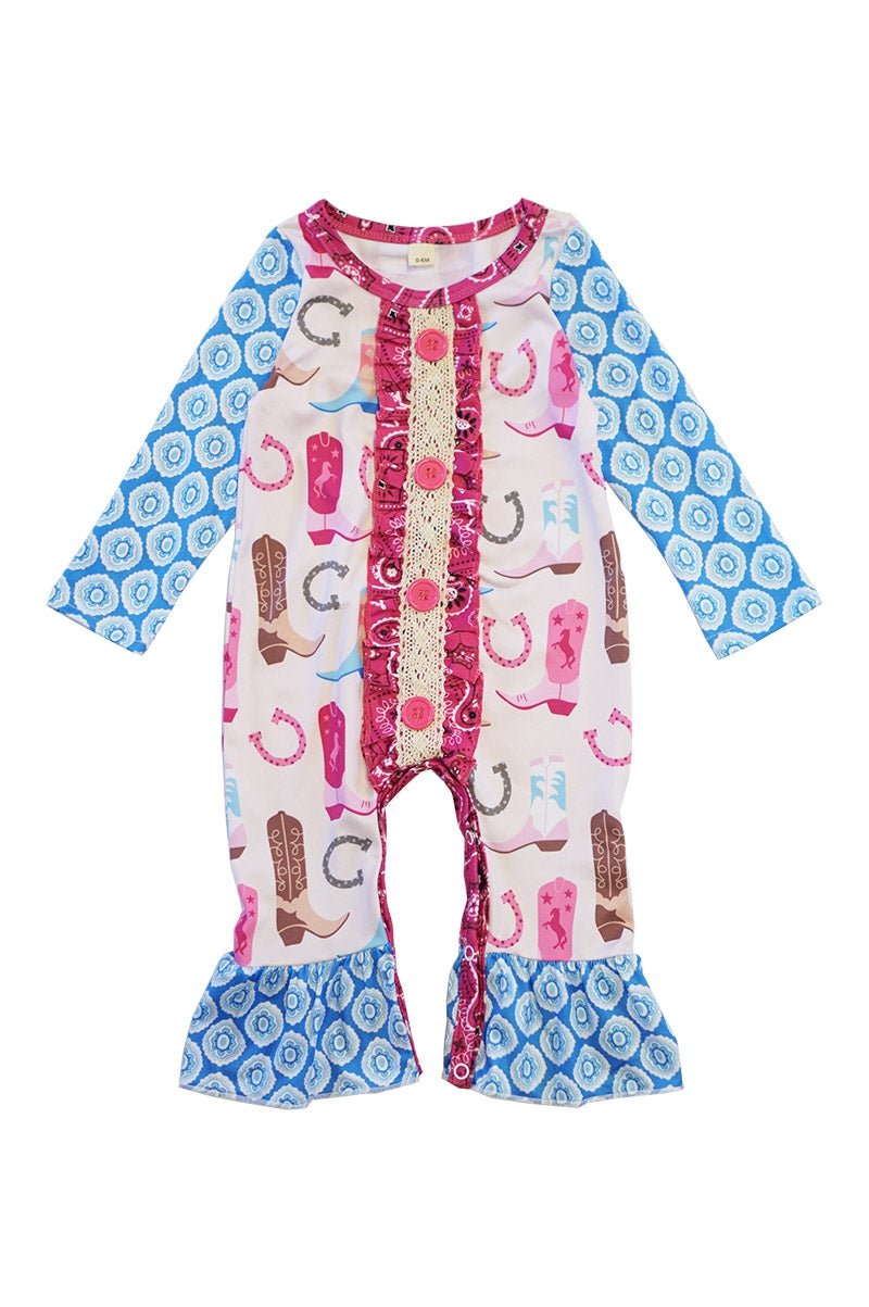 Baby Girl's Boots Print Ruffle Baby Romper