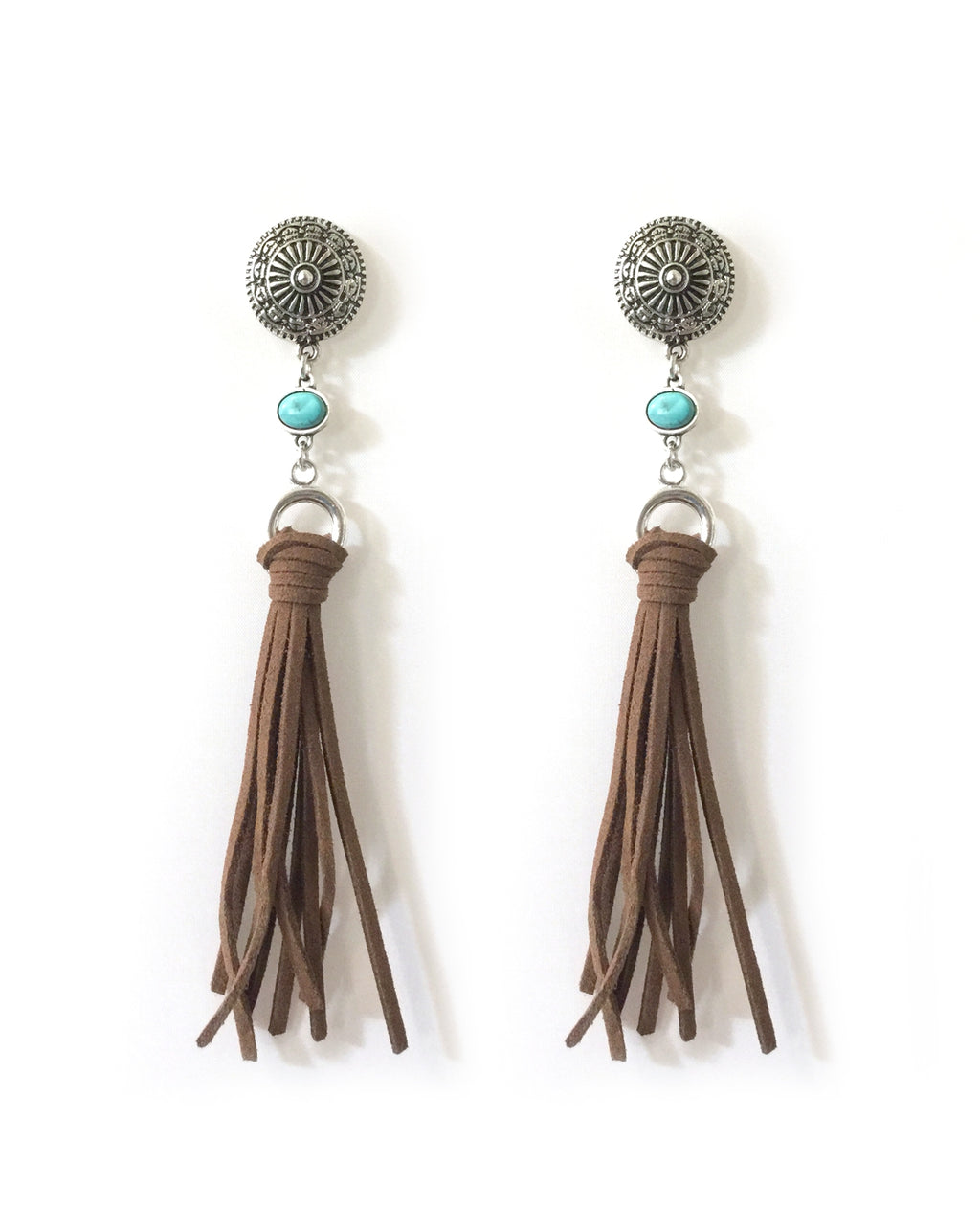 Natural TQ Charm Tassel Earrings