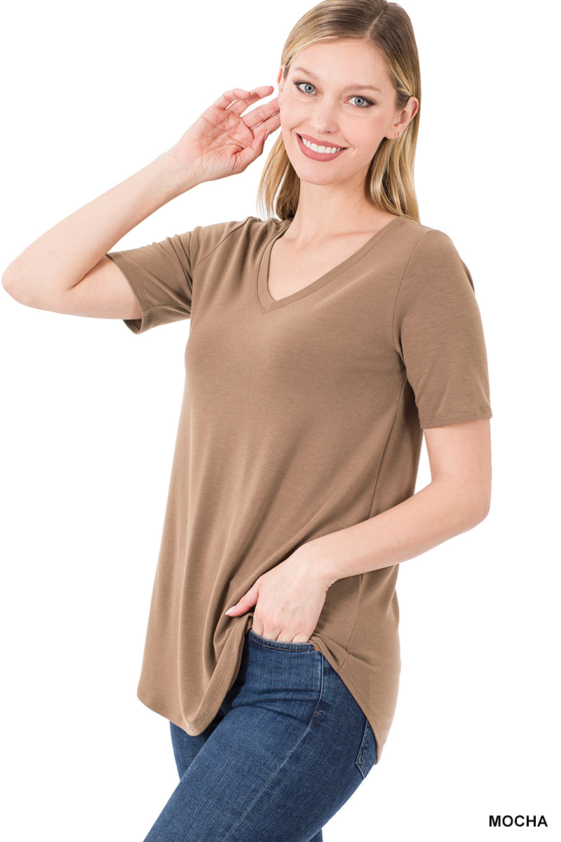Women's Plus Short Sleeve V-Neck Top